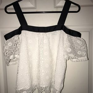 Topshop Lace White Strap Off The Shoulder Top